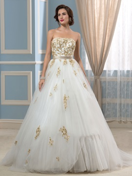 Strapless Ball Gown Gold Sequins Designer Wedding Dress