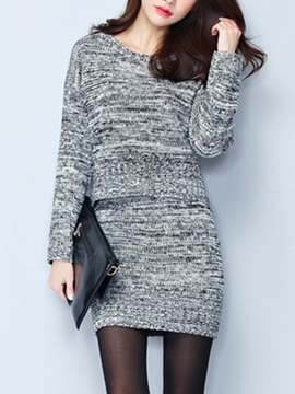 Simple Cotton Sweater Skirt Two Piece Outfit
