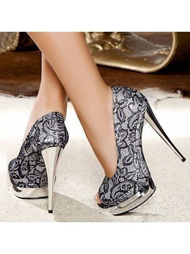 Peep Toe Lace Printed Platform Prom Shoes