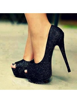 Peep Toe Sequin Stiletto Heel Prom Shoes