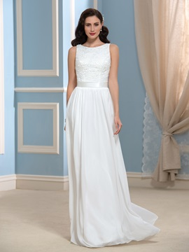 Casual Chiffon Lace Floor Length Long Beach Wedding Dress