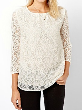 Splendid Lace Three Quarter Sleeves Blouse