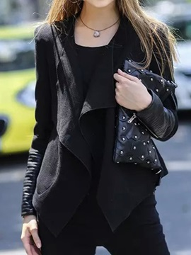 Cool Pu Zipper Decoration Lapel Blazer