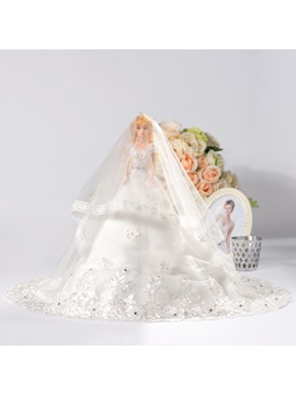 White Bridal Barbie Doll With Veil