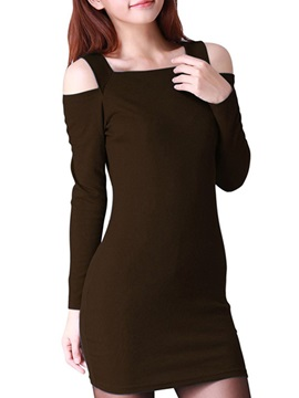 Solid Off The Shoulder Bodycon Dress