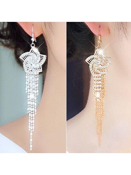 Flower Shaped With Tassel Rhinestone Decorated Earrings