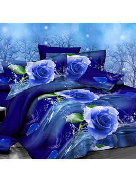Romantic Blue Rose Printed 4 Piece Bedding Sets