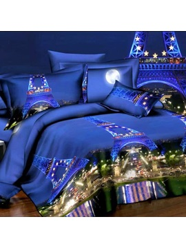 Paris Night Scene Printed 4 Piece Bedding Sets