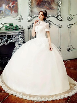 Vintage High Neck Short Sleeve Organza Ball Gown Wedding Dress