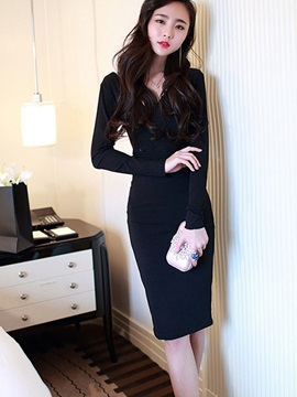 Fashion V Long Sleeve Bodycon Dress