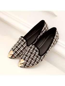 Plaid Pointed Toe Slip On Flats