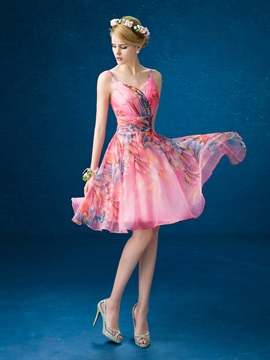 Pretty Straps A Line Lace Up Knee Length Printed Homecoming Dress
