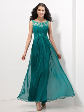 Casual Straps A Line Appliques Pleats A Line Long Prom Dress