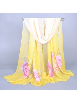 Bold Color Flower Printed Chiffon Scarf