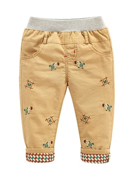 Casual Cartoon Embroidery Boy Pants