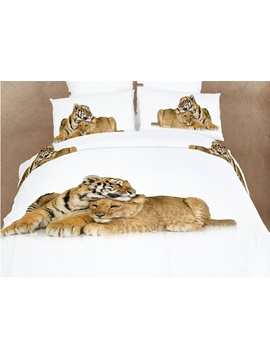 Charming Hidden Zipper Heart Warming Lion And Tiger Print 4 Piece Bedding Sets