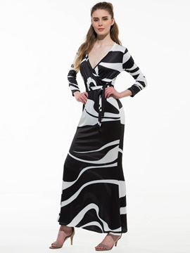 Gorgeous Zebra Stripe Maxi Dress With Belt