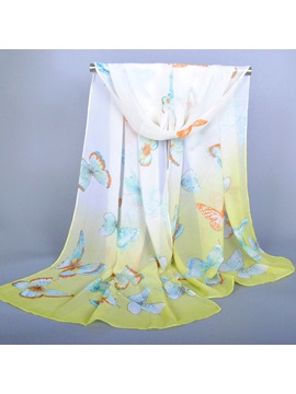 Butterfly Printed Chiffon Scarf