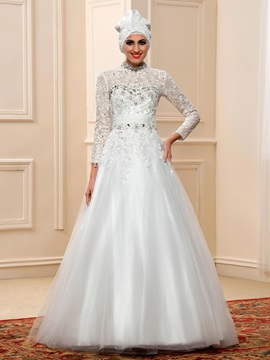 Beaded High Neck Long Sleeve Muslim Wedding Dress