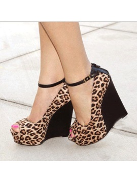 Leopard Printed Peep Toe Wedges