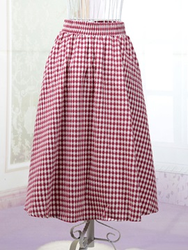 Plaid Contrast Color Skirt