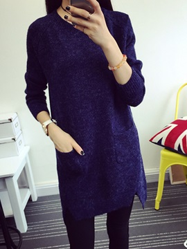 Round Neck Sleeve Sweater Dress