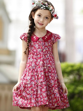 Pretty Floral Doll Collar Short Sleeve Girl Dress