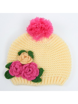 Nice Flower Decorated Babys Winter Hat