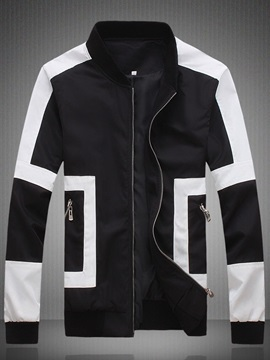 Mens Vintage Stand Collar Color Block Jacket