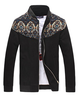 Mens Zipper Printed Chest Block Jacket