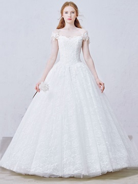 Lace Up Floor Length Off The Shoulder Lace Ball Gown Wedding Dress