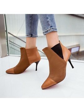 Pu Patchwork Pointed Toe Ankle Boots