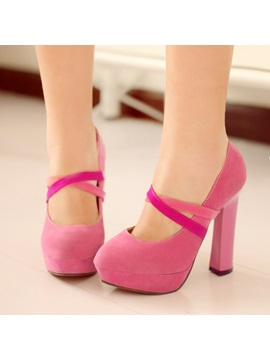 Solid Color Suede Platform Prom Shoes