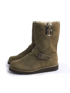 Suede Round Toe Buckles Mens Snow Boots