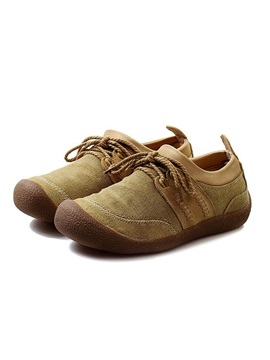 Breathable Linen Patchwork Lace Up Mens Shoes