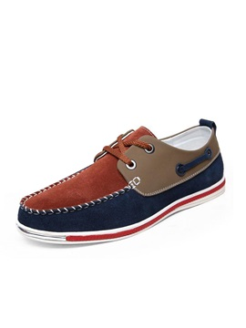 Color Block Thread Lace Up Mens Shoes