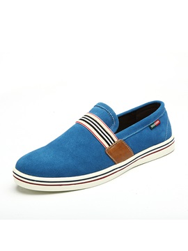Striped Round Toe Slip On Mens Shoes