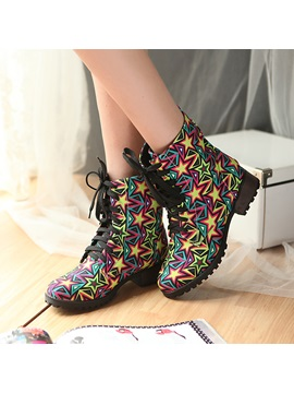Stars Printed Round Toe Lace Up Martin Boots
