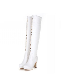Rivets Zippered Platform Thigh High Boots