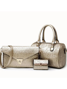 Casual Embossing Womens Bag Set