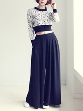 Elegant Patchwork Sweater Wide Leg Pant