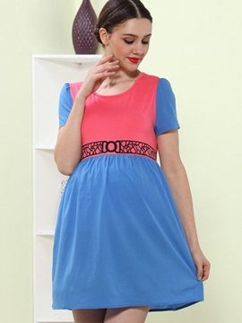 Comfortable Short Sleeve Hit Color Maternity Dress