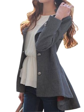 Stylish Hem Oblique Placket Slim Blazer