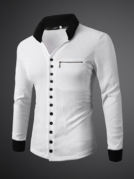 Plain Zip Decoreted Mens Long Sleeve Shirt