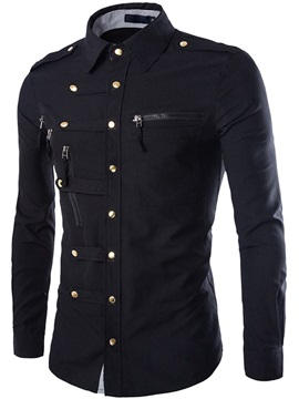 Unique Zip Design Breasted Button Down Mens Shirt