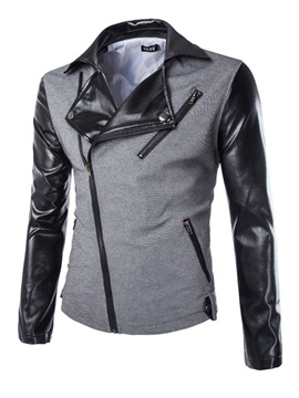 Mens Color Block Pu Sleeve Patchwork Jackets