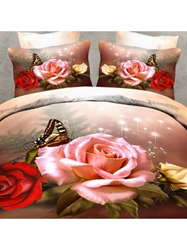 Butterfly And Rose Printing 4 Piece Bedding Sets