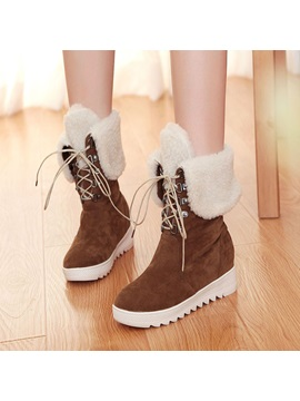 Suede Fold Over Lace Up Wedge Boots