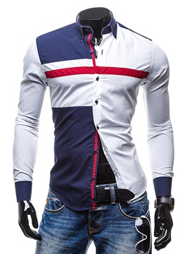 Mens Color Block Slim Fit Long Sleeve Cotton Blends Shirts
