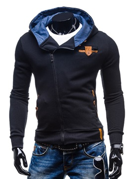 Mens Slim Fit Elbow Block Turtle Neck Zipped Hood